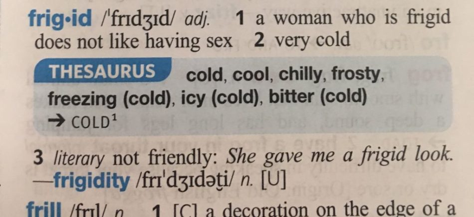 frigid excerpt from the dictionary