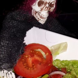 Skelly eating his salad