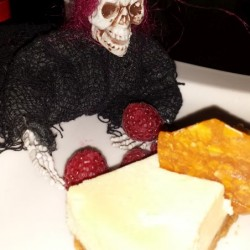 Skelly enjoying the cheesecake