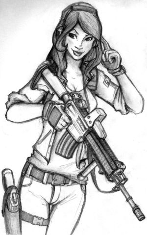 Sexy female soldier drawing.