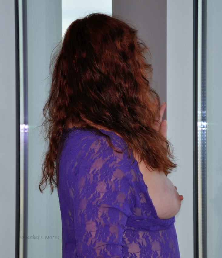 Images showing me with a purple dress and pink nipples.
