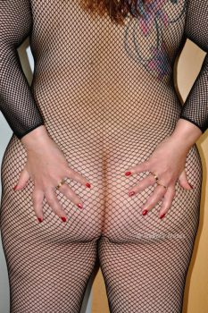 Dressed in a net catsuit, hands on bottom.