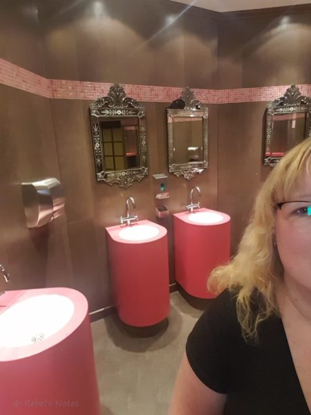 Girly pink ladies room