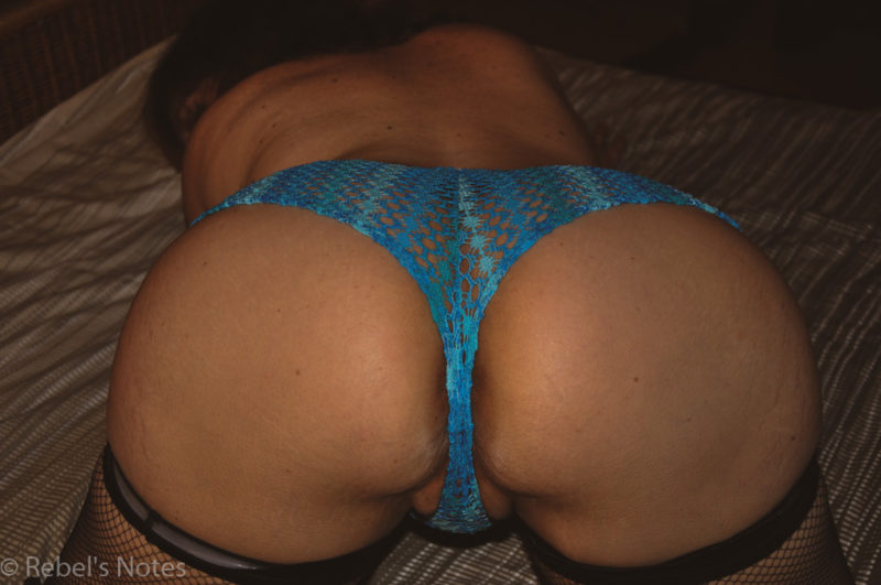 blue panties round ass