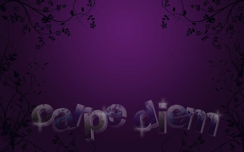 A dark purple image with the words carpe diem written at the bottom in lilac letters.