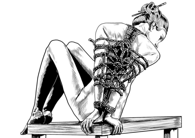 A drawing showing a woman in rope bondage, sitting on a table. The tie can bring about pain and pleasure.