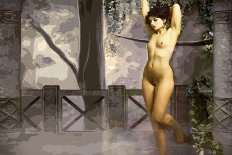 A drawing or painting of a naked woman with the park in the background.