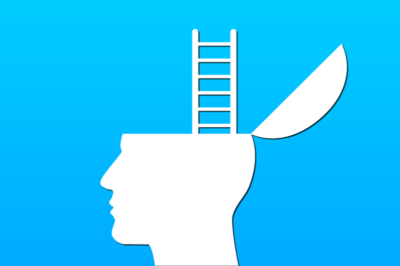 A blue and white image of head, a ladder coming out at the top, implicating personal growth.