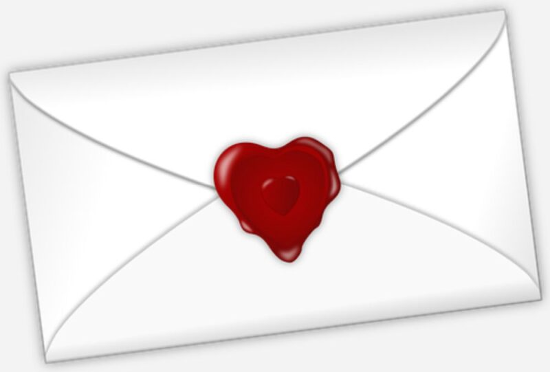 An image showing a closed envelop sealed with a heart, indicating contact with Marie Rebelle.