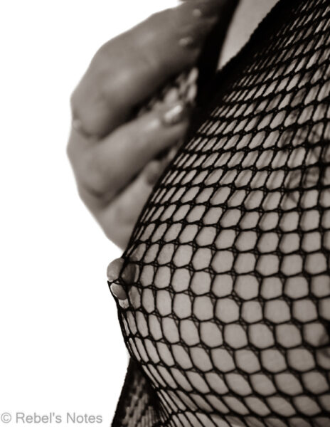An image of me in a net bodystocking, a nipple peaking through. When I shared this image the first time I called it 'Netscape'.