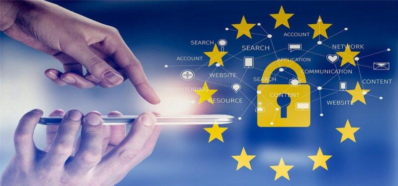 An image showing the stars of the EU and a lock to indicate the privacy and cookie policies that should be in place.
