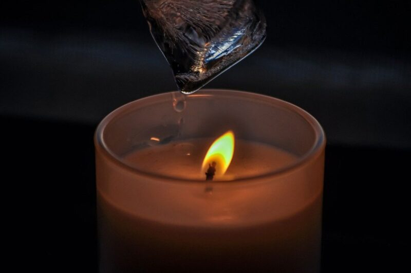 An image showing a candle and ice, household items that can be used as sex toys to spice up a relationship.