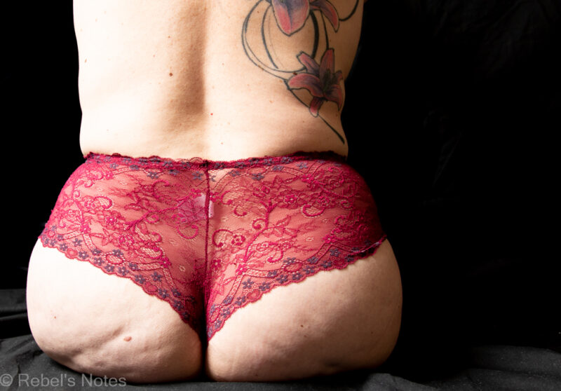 A color image of my ass, covered in dark red lace.