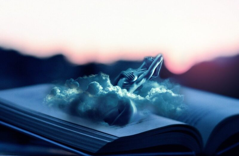 Imagine a book, open in the middle, a cloud rising from it, and a naked woman amidst the cloud. That's this image.
