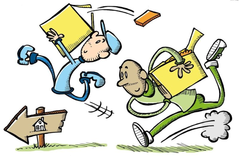 A drawing showing two guys running to move boxes to a new house.