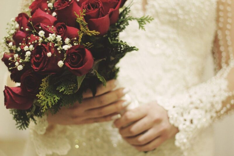 An image of a bride holding a bouquet, to go with my poem about a wedding bouquet watching a bride.