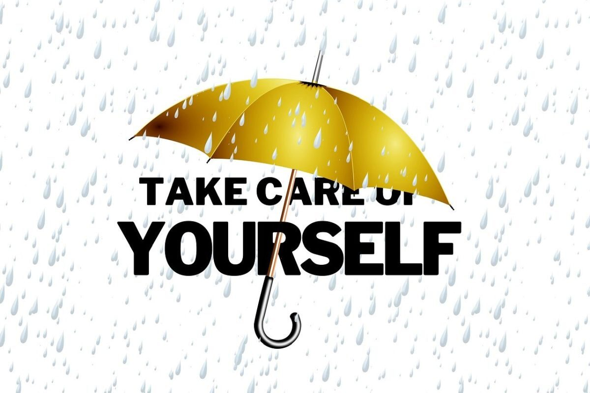 An image of an umbrella and the words 'take care of yourself' to go with my post about a sign of weakness when you allow a breaking point.