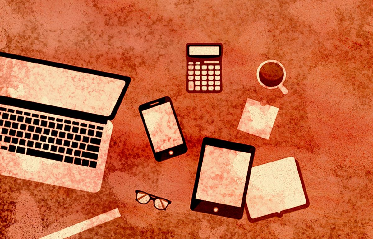 A drawing showing several digital gadgets like a laptop, tablet, and a mobile phone.