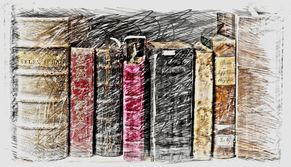 An image of books, made to look old - the image, not the books - to go with my story called 'The thirteenth time', and which plays off in a library.