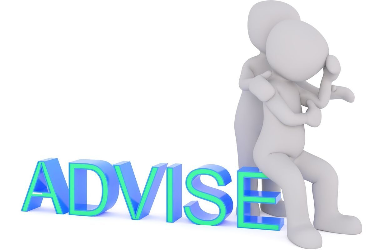 An image of two characters, the one consoling the other and the word advise written at the bottom of the image, to indicate the giving of advice.
