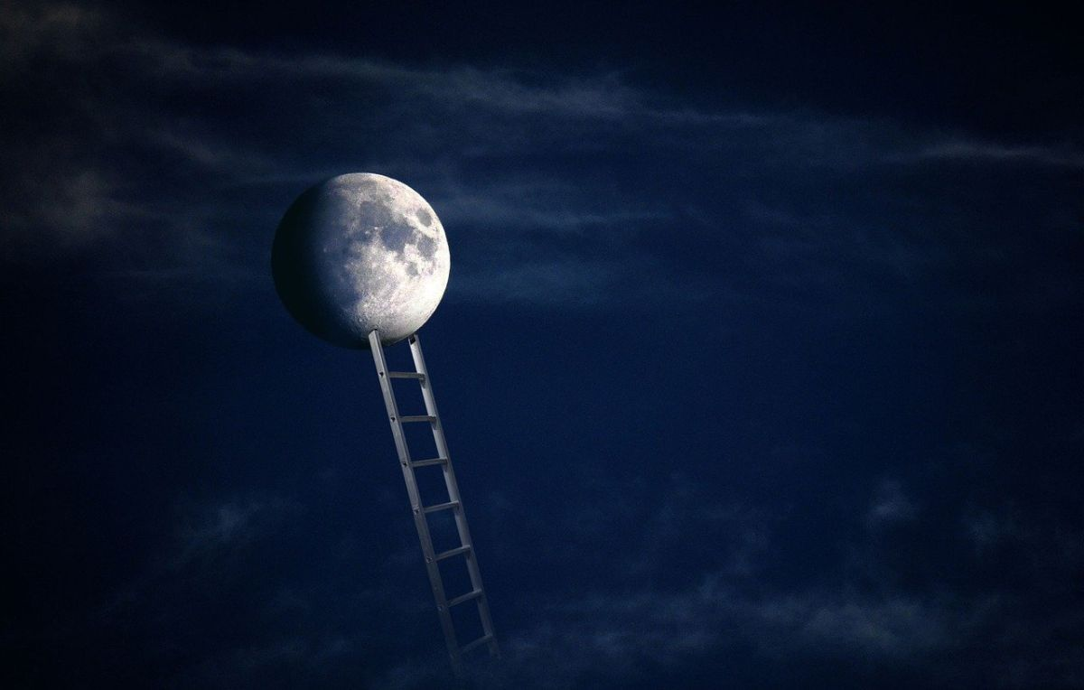 An image of the moon and a ladder leading to it, to go with my post about ambition and expectation.